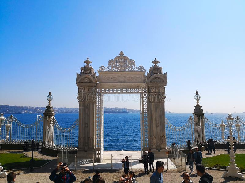 The Dolmabahce palace in Istanbul, Turkey-March 30, 2018: The st royalty free stock image