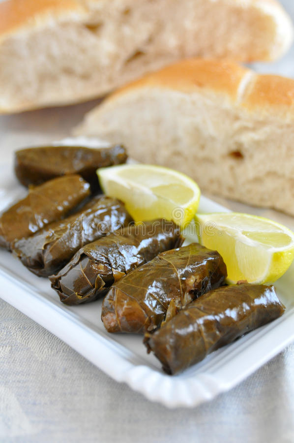 Dolmades, Filled Vineleaves Stock Photos