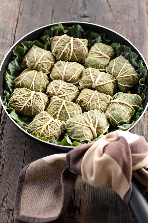 Free Dolmades With Rhubarb Leaves, Meat And Rice Stock Image - 19461501
