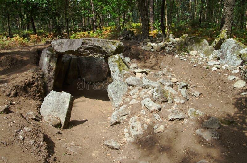Dolmen av Portelagem Esposende Portugal arkivfoto