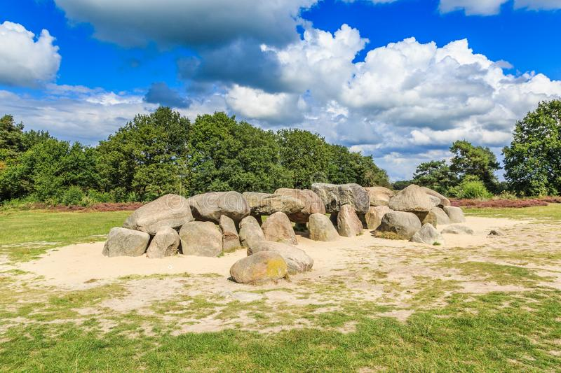 Dolmen D53 in the province of Drenthe royalty free stock image