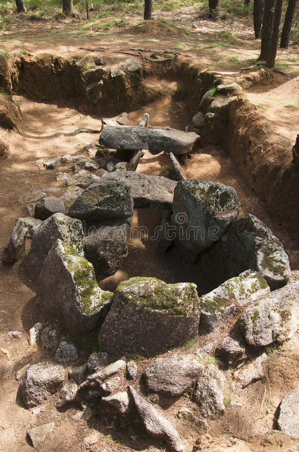 Dolmen do Rapido back view. Esposende, Portugal stock image