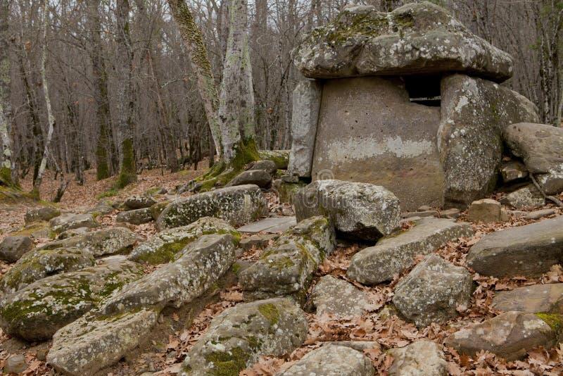 Dolmen i en skog royaltyfria bilder