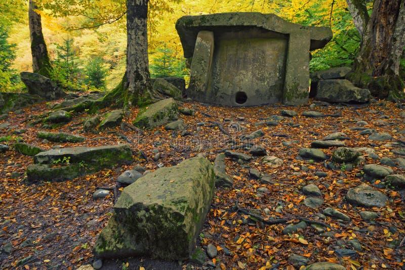Dolmen nella foresta fotografie stock libere da diritti