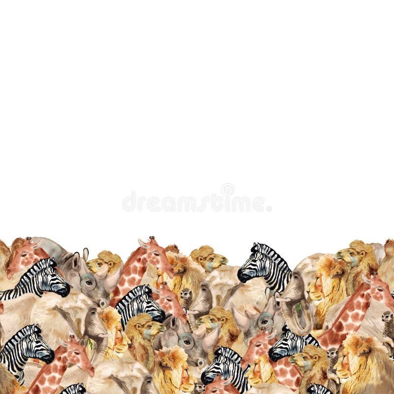 Dolna granica z afrykańskimi zwierzętami royalty ilustracja
