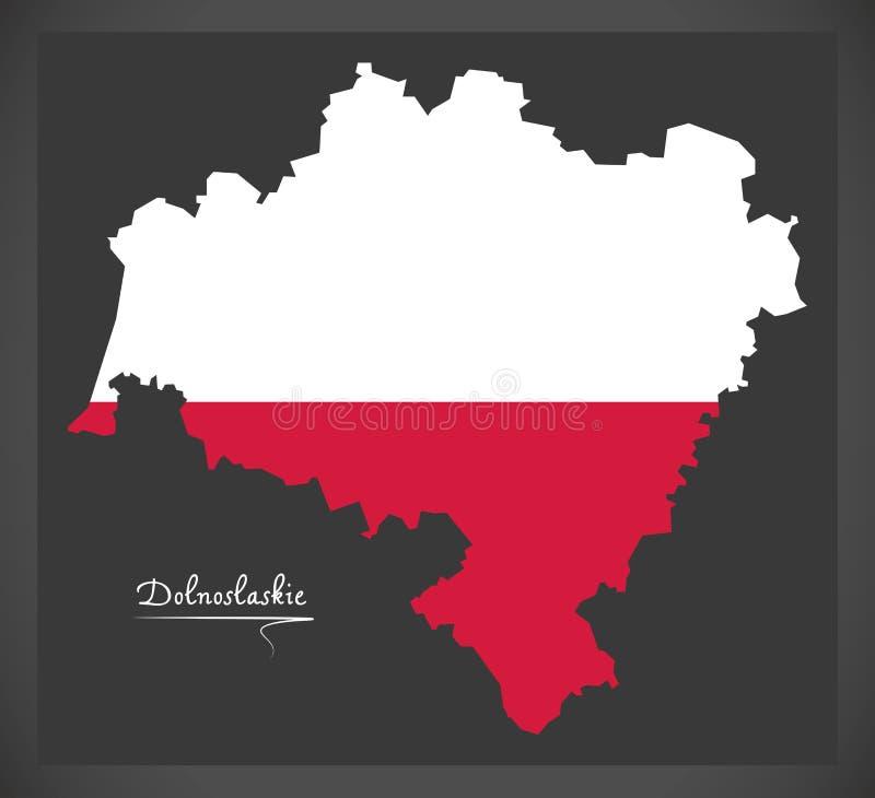 Dolnoslaskie map of Poland with Polish national flag illustration. Dolnoslaskie map of Poland with Polish national flag stock illustration