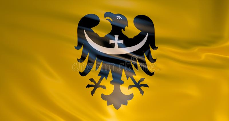 Dolnoslaskie wojewodztwo旗子,波兰,3d例证 皇族释放例证