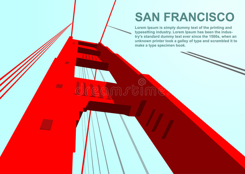 Dolny widok Golden gate bridge w San Fransisco ilustracja wektor