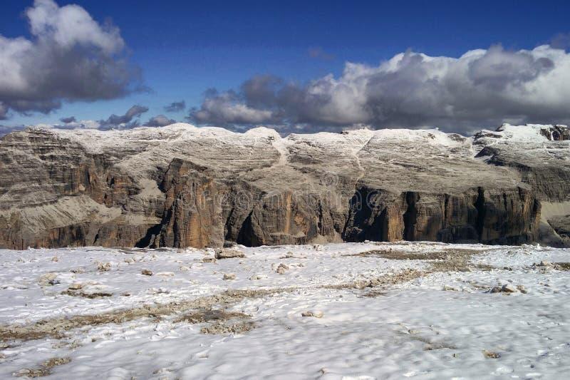 Dolomiet en sneeuw royalty-vrije stock afbeeldingen