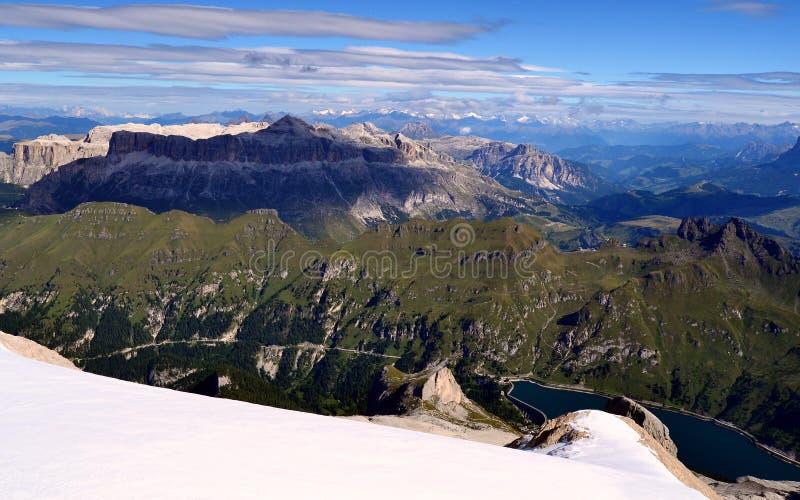 Dolomiet, Italië Piz Boe van de top van Marmolada stock foto