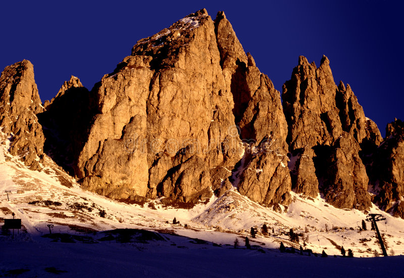 Dolomiet zonsondergang-Italië royalty-vrije stock foto