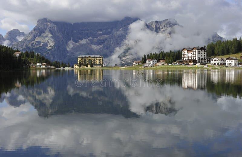 Dolomit-Alpen, Misurina See lizenzfreies stockfoto