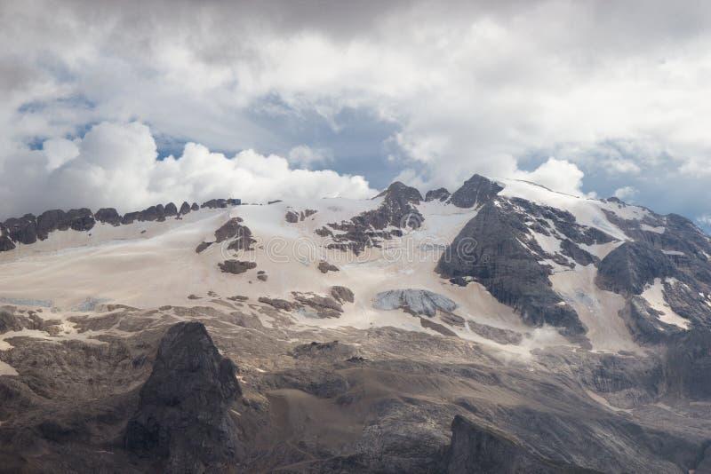 Dolomit, Italien - Ansicht vom Sass Pordoi, Arabba-Marmolada, Val Di Fassa stockfotografie