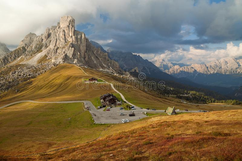 Dolomite Alps at sunset, Belluno, Italy. Nearby Cortina d`Ampezzo. Dolomite Alps at sunset, Belluno Italy. Nearby Cortina d`Ampezzo royalty free stock photos