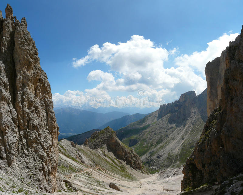 Dolomite mountain landscape in hiking area royalty free stock photos