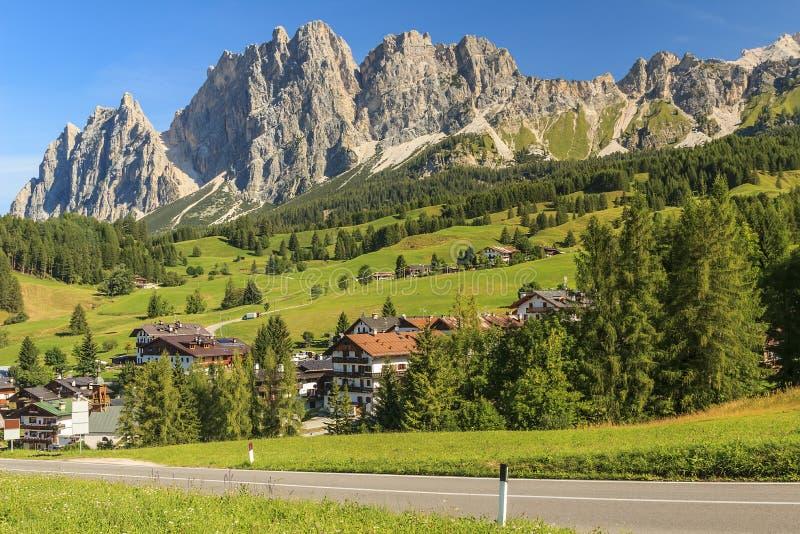Dolomite mountains above Cortina D'Ampezzo,Sudtirol,Italy stock photo