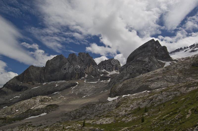 Dolomite peak. View of dolomites mountains, marmolada, alps chain in italy stock photo