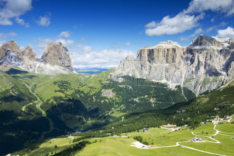 Dolomites. A view from the Dolomiti Alps stock photography