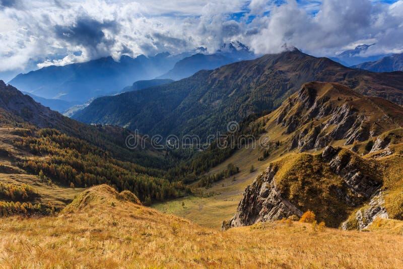 Dolomites autumn in Passo Giau royalty free stock photo