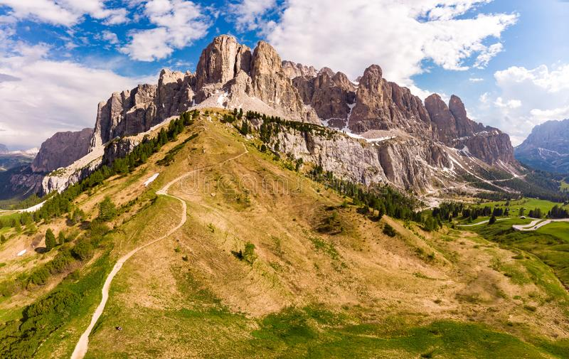 Dolomites - Beautiful panoramic sunset landscape at Gardena Pass, Passo Giau, near Ortisei. Stunning airial view on the top royalty free stock photo
