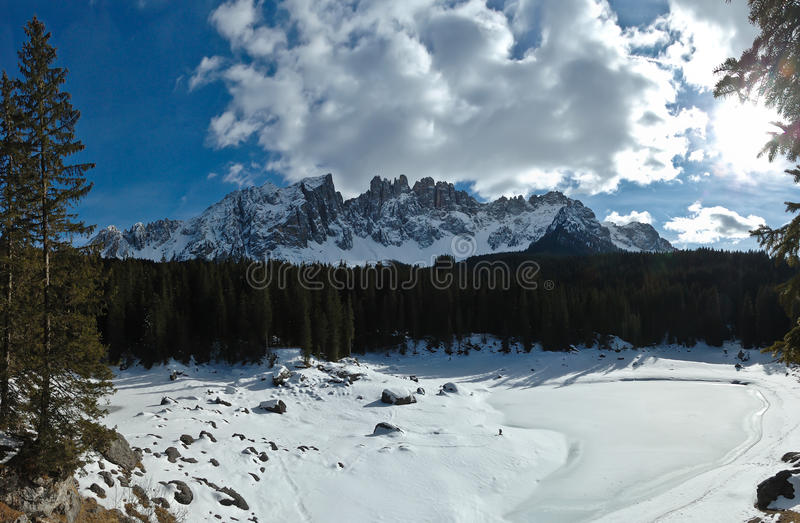 Download Dolomites Caress Frozen Lake Stock Image - Image: 24384043