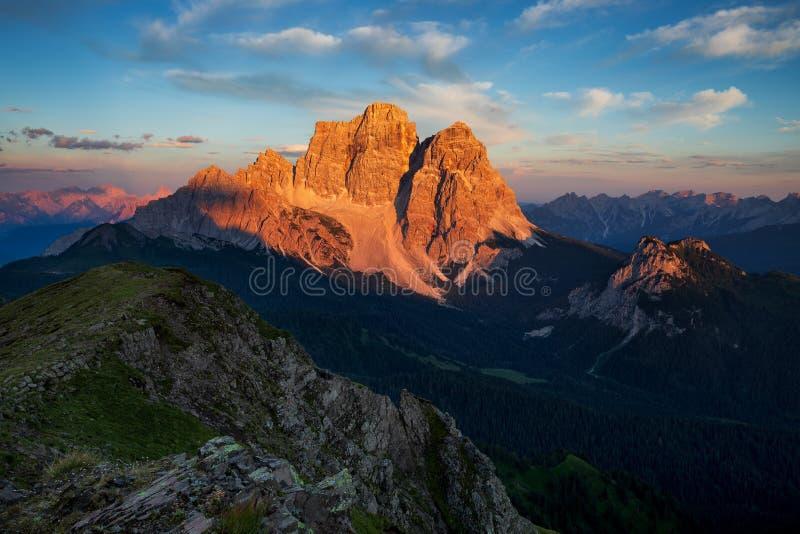 Dolomites, Italy, Sunrise in Giau stock image