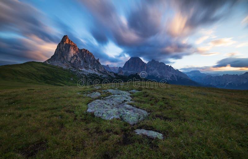Dolomites, Italy, Sunrise in Giau stock photo