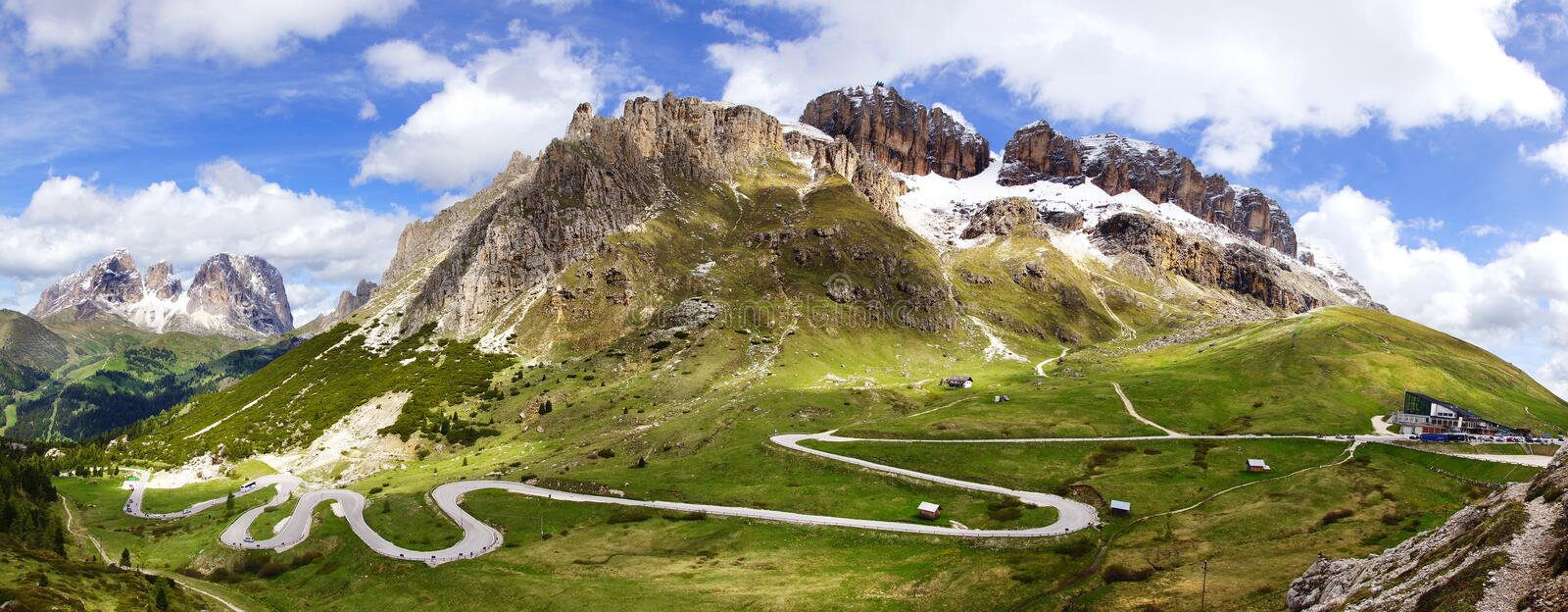 Dolomites landscape with mountain road. stock photo
