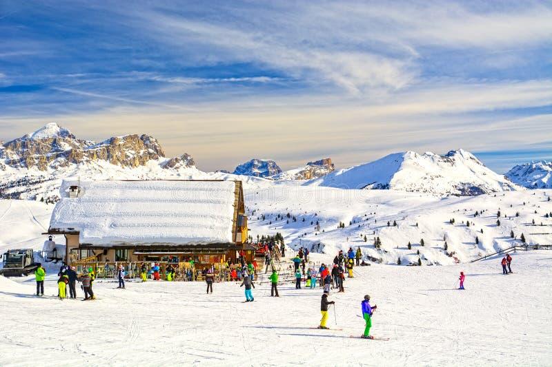 Dolomites landscape panorama zimą, Włochy obrazy royalty free