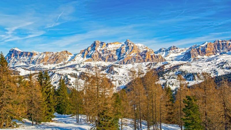 Dolomites landscape panorama zimą, Włochy obrazy stock
