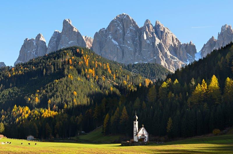 Dolomites mountain church royalty free stock photo