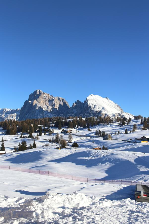 Dolomites mountain at Seiser Alm royalty free stock photography