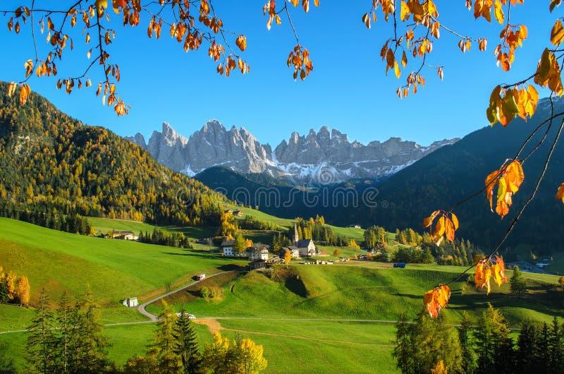 Dolomites mountain village in autumn royalty free stock image