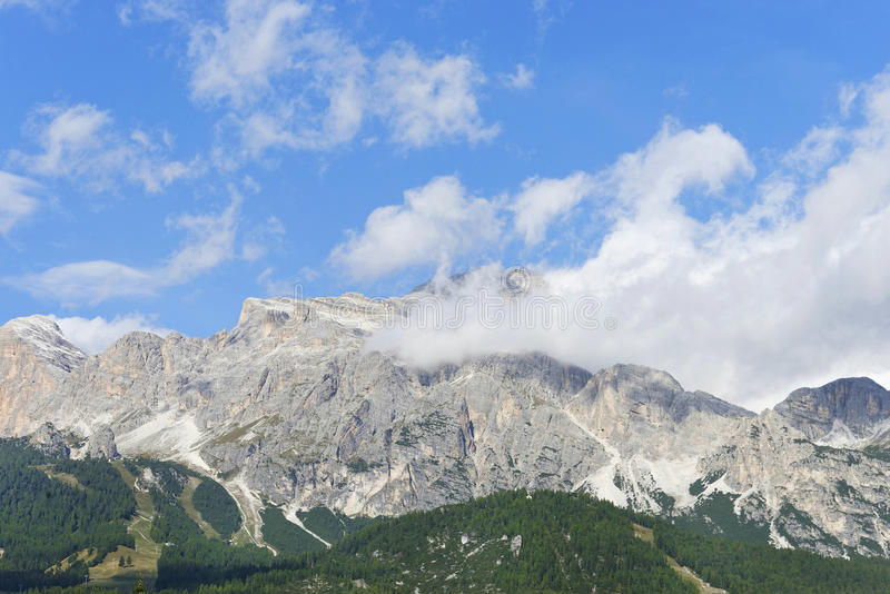 Dolomites mountains near Cortina D'Ampezzo. Dolomites Mountains, Cortina D'Ampezzo, province Belluno in the Veneto region of Northern Italy stock photography