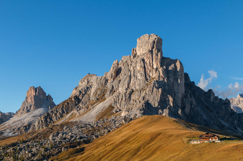 Dolomites mountains the Passo di Giau, Monte Gusela at behind N. Uvolau gruppe in South Tyrol, Italy stock images