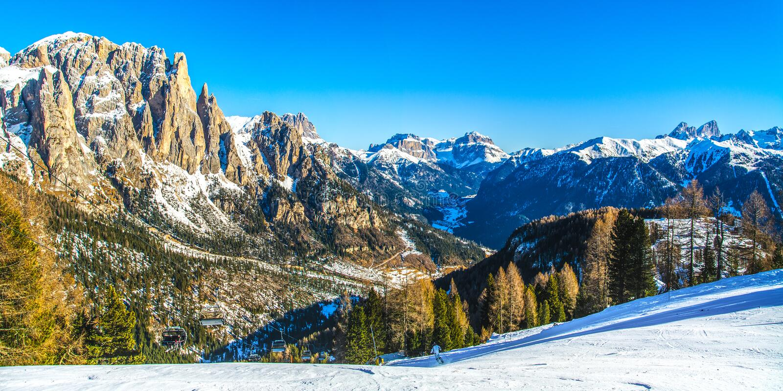 Dolomites mountains ski resort in winter, Italy royalty free stock photography