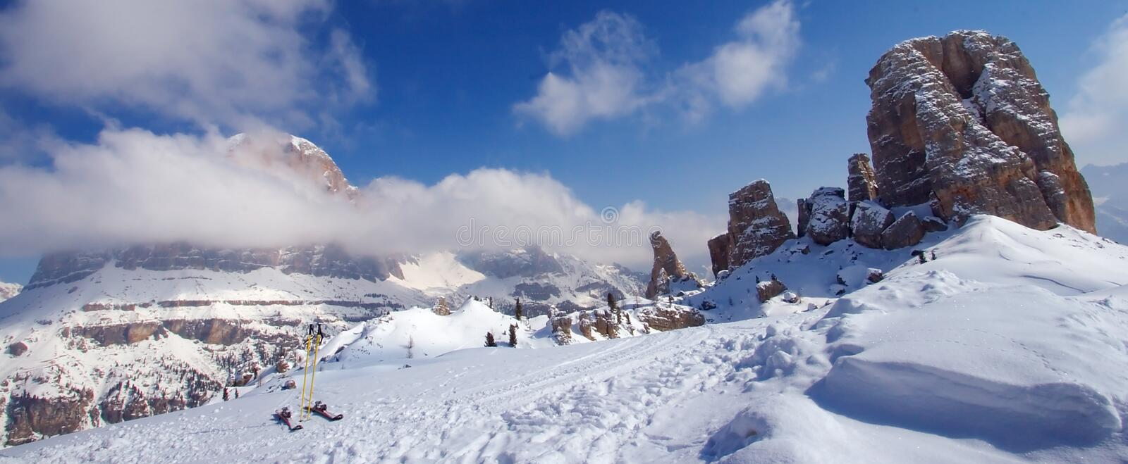 Dolomites Skiing Adventure royalty free stock photo