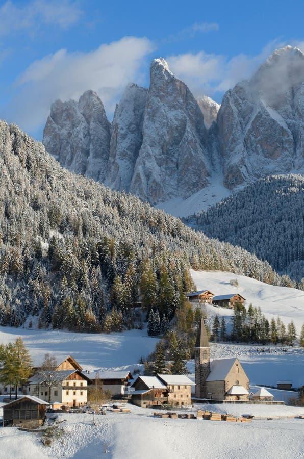 Dolomites village in winter royalty free stock photo