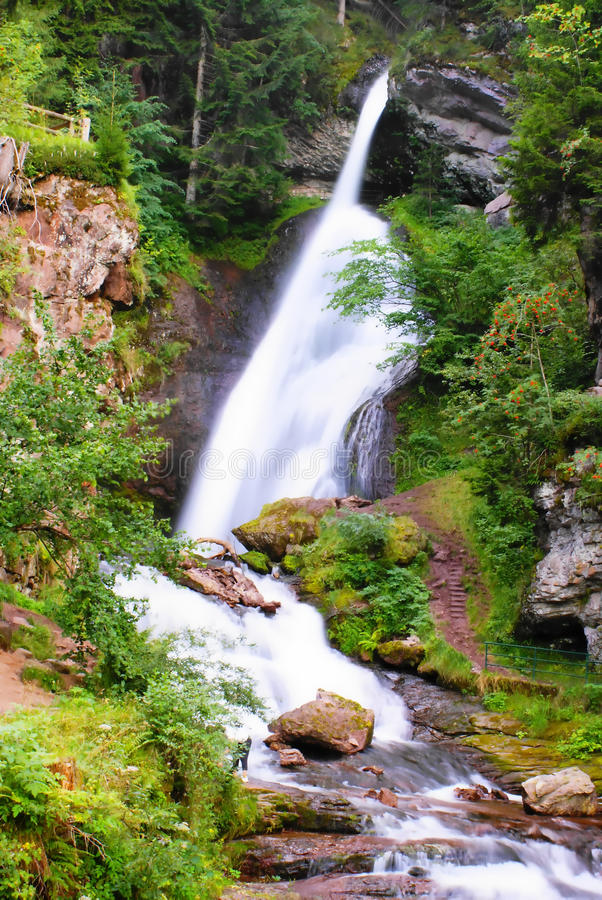 Dolomites: Waterfall Cavalese, Val di Fiemme stock images