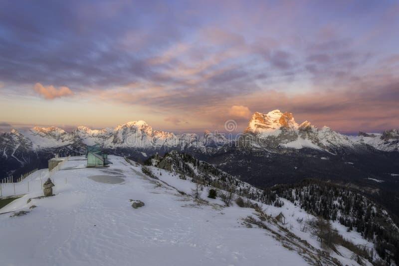 Dolomites in winter stock image