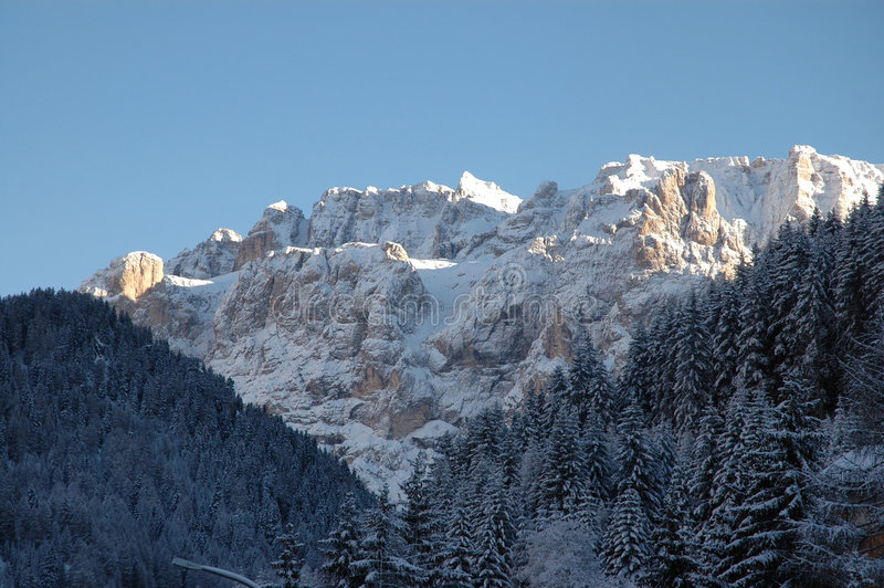 Dolomites in wintertime. Photo of the Dolomite mountains of Italy in wintertime stock images