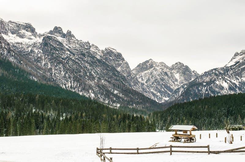 Dolomitesna av det Trentino vinterlandskapet fotografering för bildbyråer
