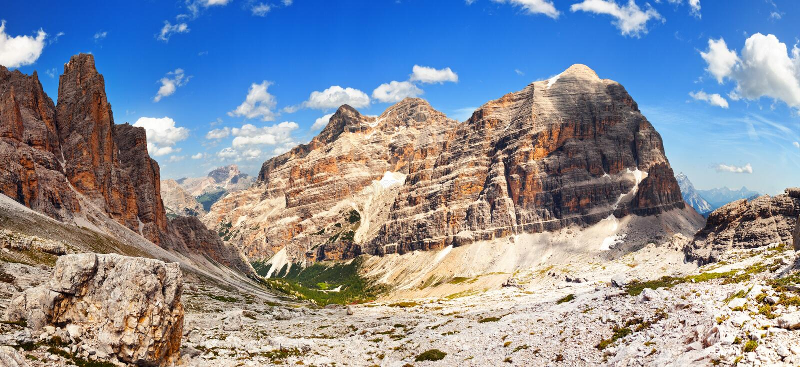 Dolomiti berg - grupp Tofana arkivfoton