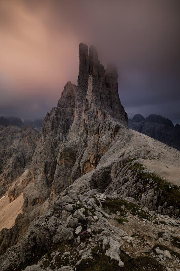 Dolomiti - las torres de Vajolet foto de archivo libre de regalías