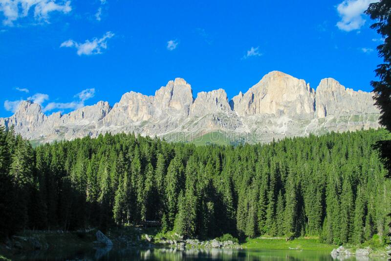 Dolomiti mountains alpine rocky peaks. Roky cliff mountains of Dolomites. Dolomiti Alps, Italy, the Dolomite. Beautiful rocky peak tower mountains hiking and stock images