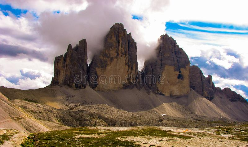 Dolomiti mountains tre cime italy cliff rock. Summit lavaredo cima grande stock photography