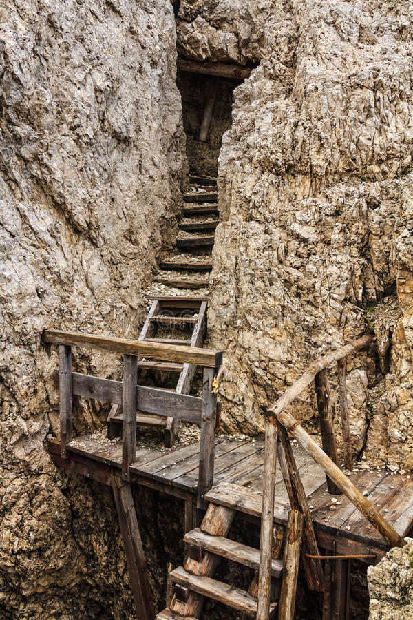 Dolomiti - old WW1 trench. Ruinf of ww1 trench in Sass de Stria mount, Alto Adige, Italy royalty free stock photography