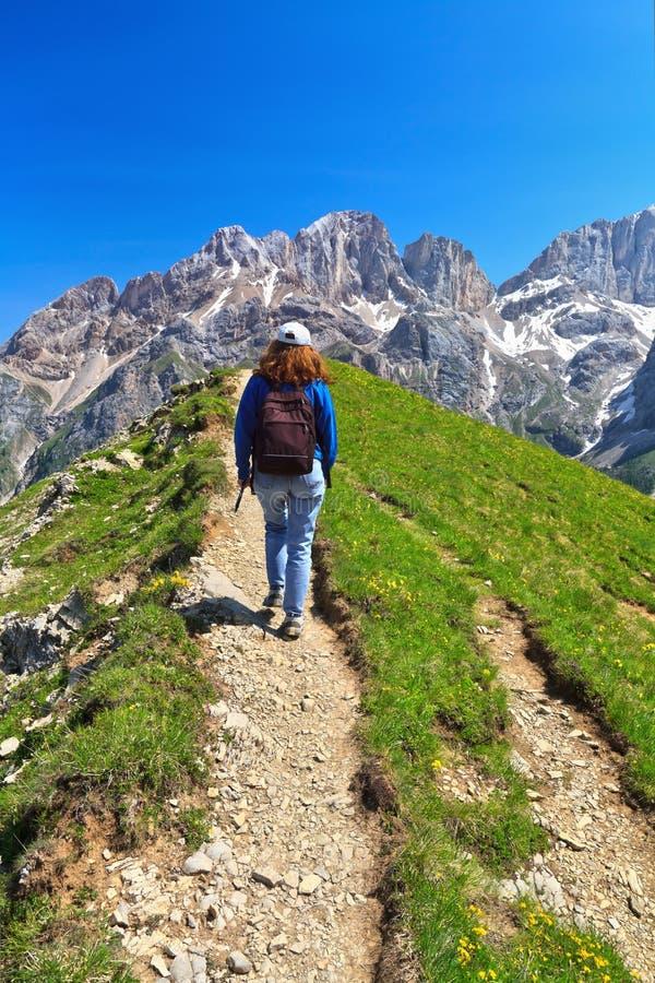 Dolomiti - randonneur en vallée de Contrin photo libre de droits