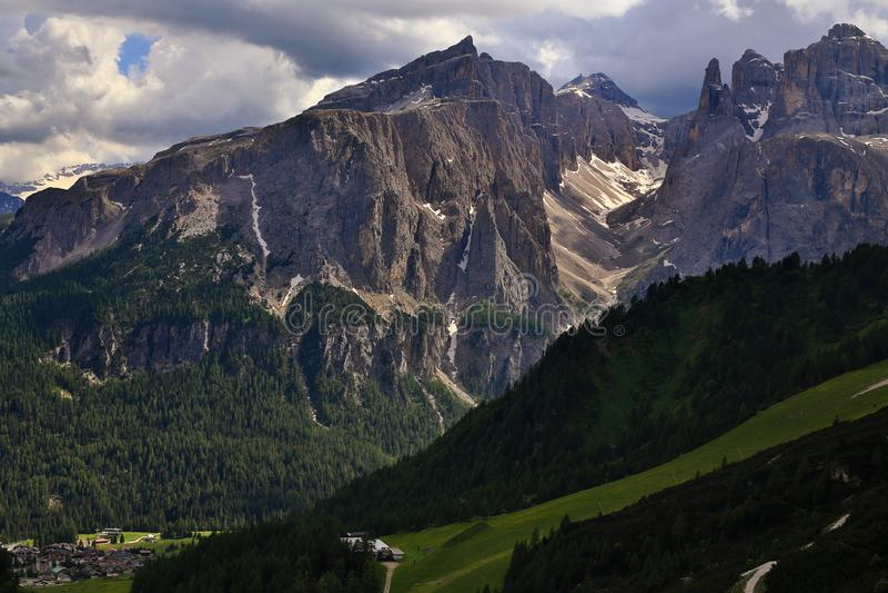 Sella Ronda massif from Passo Gardena stock photography