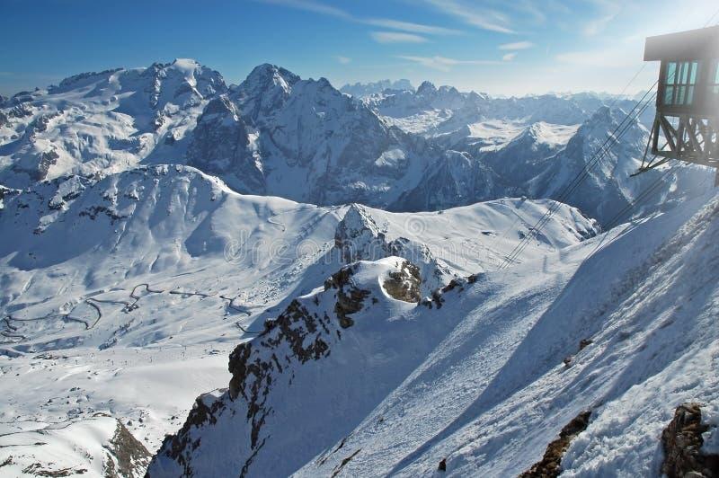 Dolomities, Dolomiti - Italië in wintertijd stock afbeeldingen